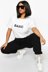 Womens Plus 'Basic' T-Shirt - White - 18, White