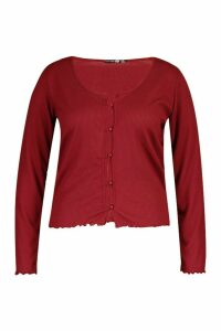 Womens Plus Brushed Knitted Rib Button Cardigan - red - 20, Red