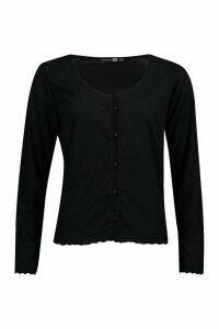 Womens Plus Brushed Knitted Rib Button Cardigan - black - 16, Black