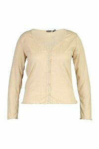 Womens Plus Brushed Knitted Rib Button Cardigan - beige - 20, Beige
