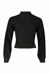 Womens Petite Knitted Rib Extreme Volume Sleeve Top - black - 6, Black