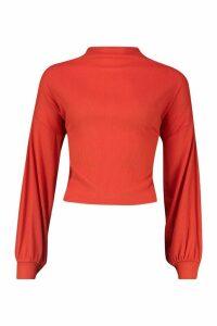 Womens Petite Knitted Rib Extreme Volume Sleeve Top - orange - 4, Orange