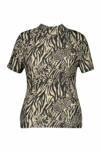 Womens Plus Animal Print Rib Turtleneck Short Sleeve Top - beige - 24, Beige