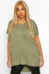 Womens Plus Oversized T-Shirt - green - 20, Green