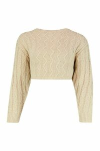 Womens Petite Cropped Boxy Cable Knitted Jumper - beige - L, Beige
