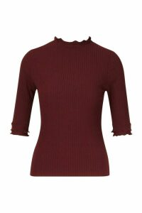 Womens Petite High Neck Ribbed Top - red - 6, Red