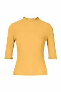 Womens Petite High Neck Ribbed Top - yellow - 14, Yellow