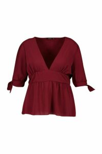 Womens Plus Puff Tie Sleeve Peplum Top - red - 24, Red