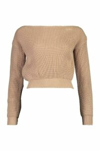 Womens Petite Slash Neck Crop Fisherman Jumper - beige - L, Beige