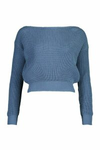 Womens Petite Slash Neck Crop Fisherman Jumper - slate blue - M, Slate Blue