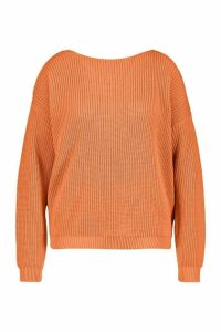 Womens Plus V-back Oversized Jumper - orange - 24-26, Orange