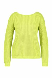 Womens Plus V-back Oversized Jumper - green - 24-26, Green