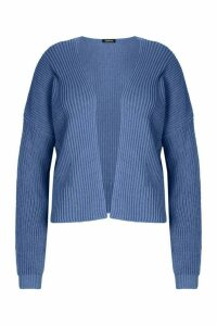 Womens Plus Oversized Cropped Cardigan - blue - 22, Blue