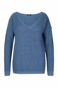 Womens Plus Oversized V-Neck Jumper - blue - 22, Blue