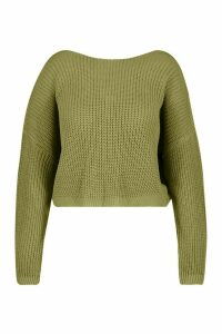Womens Plus V Back Crop Jumper - green - 24-26, Green