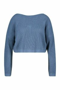 Womens Plus V Back Crop Jumper - blue - 20-22, Blue