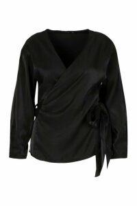 Womens Plus Metallic Wrap Tie Waist Top - black - 18, Black