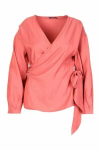Womens Plus Metallic Wrap Tie Waist Top - pink - 18, Pink