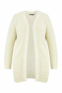 Womens Plus Chunky Cardigan With Pockets - beige - 20, Beige
