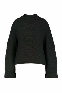 Womens Plus Cowl Neck Jumper With Split Side Seam - black - 22, Black