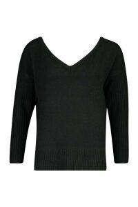Womens Petite Jumper With V Neck Detail Front And Back - black - M, Black