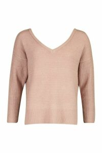 Womens Petite Jumper With V Neck Detail Front And Back - pink - M, Pink