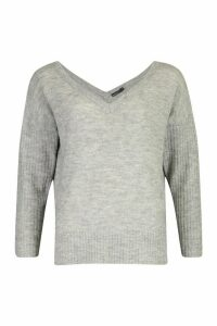 Womens Petite Jumper With V Neck Detail Front And Back - grey - M, Grey