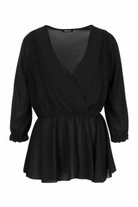 Womens Ruffle Front Wrap Top - black - 16, Black