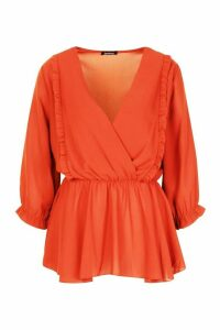 Womens Ruffle Front Wrap Top - orange - 10, Orange