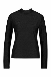 Womens Glitter Roll Neck Top - black - 14, Black