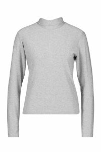 Womens Glitter Roll Neck Top - grey - 6, Grey