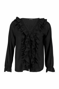 Womens Ruffle Woven Blouse - black - M, Black