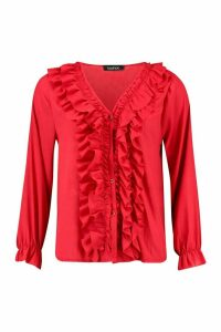 Womens Ruffle Woven Blouse - red - L, Red