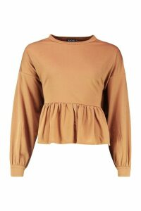 Womens Drop Hem Long Sleeve Sweat Top - beige - 16, Beige