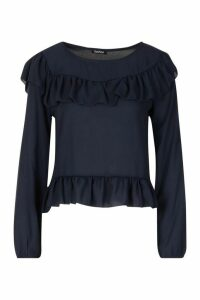 Womens Frill Blouse - navy - 14, Navy