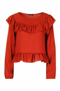 Womens Frill Blouse - orange - 14, Orange