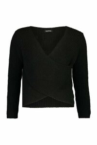 Womens Wrap Front Knitted Jumper - black - M, Black
