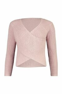 Womens Wrap Front Knitted Jumper - pink - S, Pink