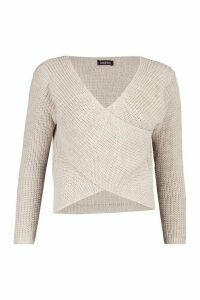 Womens Wrap Front Knitted Jumper - beige - M, Beige