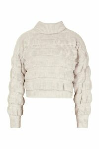 Womens Bubble Knit roll/polo neck Jumper - beige - M, Beige