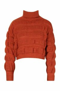Womens Bubble Knit roll/polo neck Jumper - brown - L, Brown