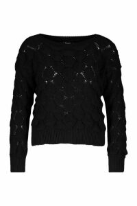 Womens Bobble Knit Cropped Jumper - black - M, Black