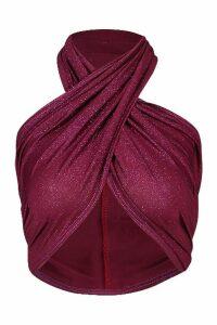 Womens Glitter Wrap Halterneck Crop Top - purple - 14, Purple