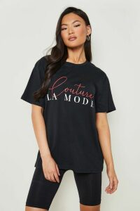 Womens Couture Slogan T-Shirt - black - S, Black