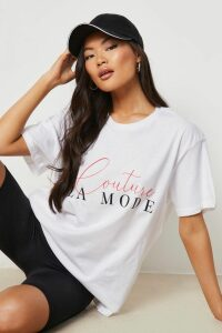 Womens Couture Slogan T-Shirt - White - Xl, White