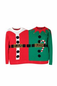 Womens Santa & Buddy Two Person Christmas Jumper - red - One Size, Red