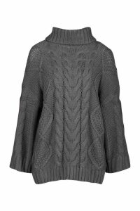 Womens Roll Neck Oversized Cable Knit Jumper - grey - M, Grey