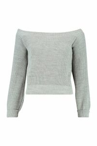 Womens Petite Bardot Balloon Sleeve Jumper - grey - M, Grey