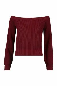 Womens Petite Bardot Balloon Sleeve Jumper - red - M, Red