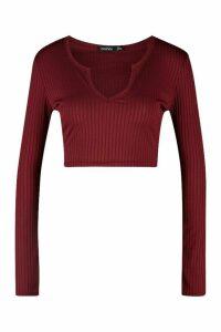 Womens Petite Jumbo Rib Notch Detail Crop Top - red - 10, Red